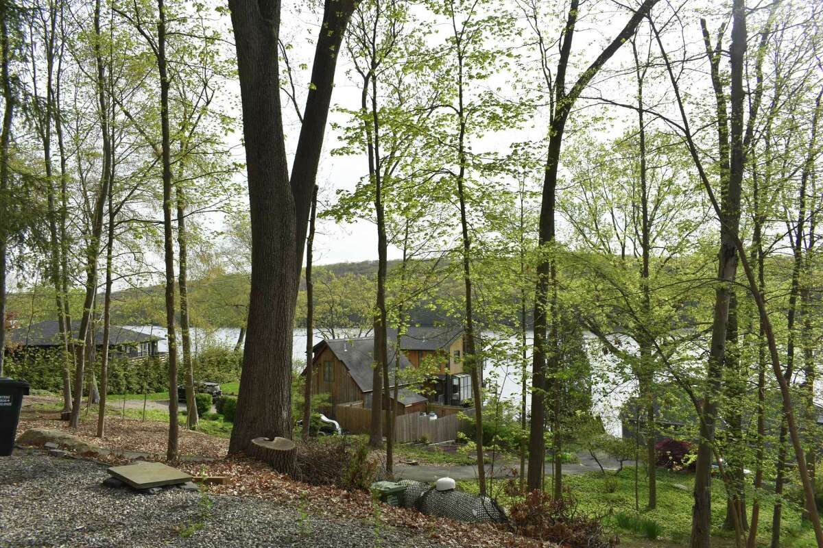 Homes along Candlewood Lake in New Fairfield, Conn., on Bogus Hill Road where Camp Candlewood was put up for sale in April 2021 for nearly $10 million, with the possibility of residential redevelopment.