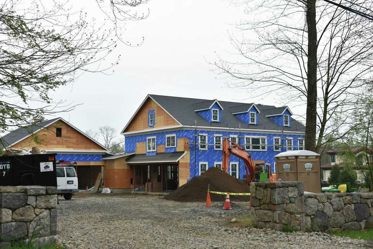 Construction proceeds in April on a new home just off Stanwich Road in Greenwich.