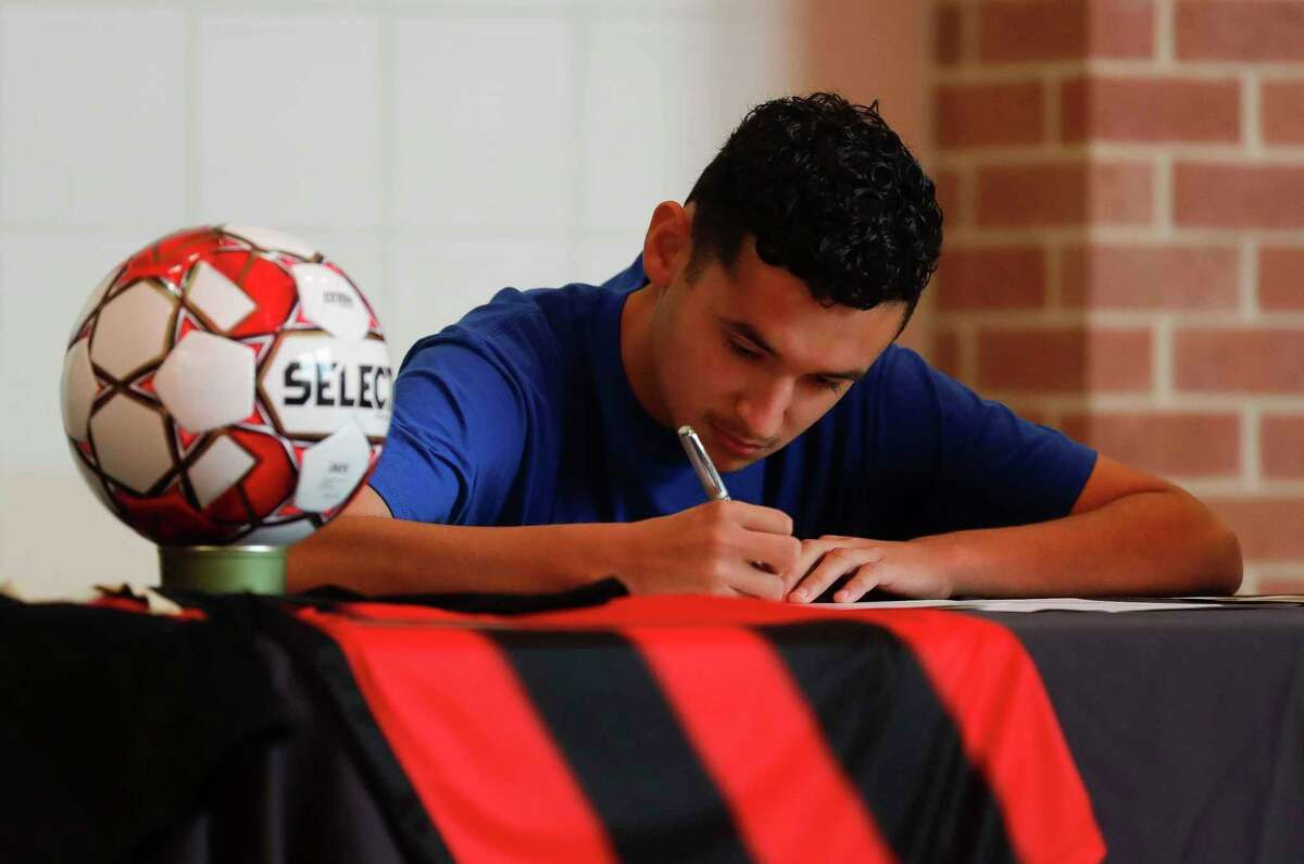 Alexander Jaramillo signed to play soccer for Our Lady of the Lake University during a signing ceremony at Porter High School, Thursday, April 29, 2021, in Poter.