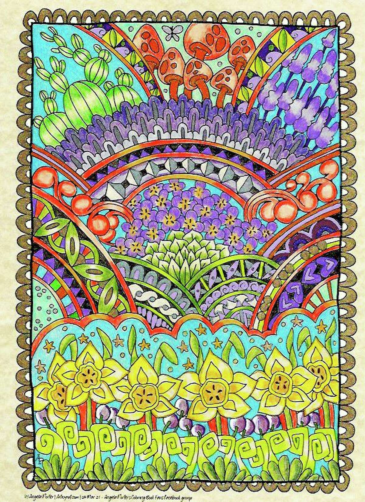 Photo: Artwork by Angela Porter, colored by Sally Bahner.