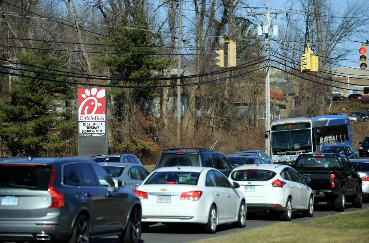 The state is going to be improving Federal Road in Brookfield, a project that will include a left turn signal at the northbound entrance to the Chick-fil-A plaza. Photo friday, January 13, 2017.
