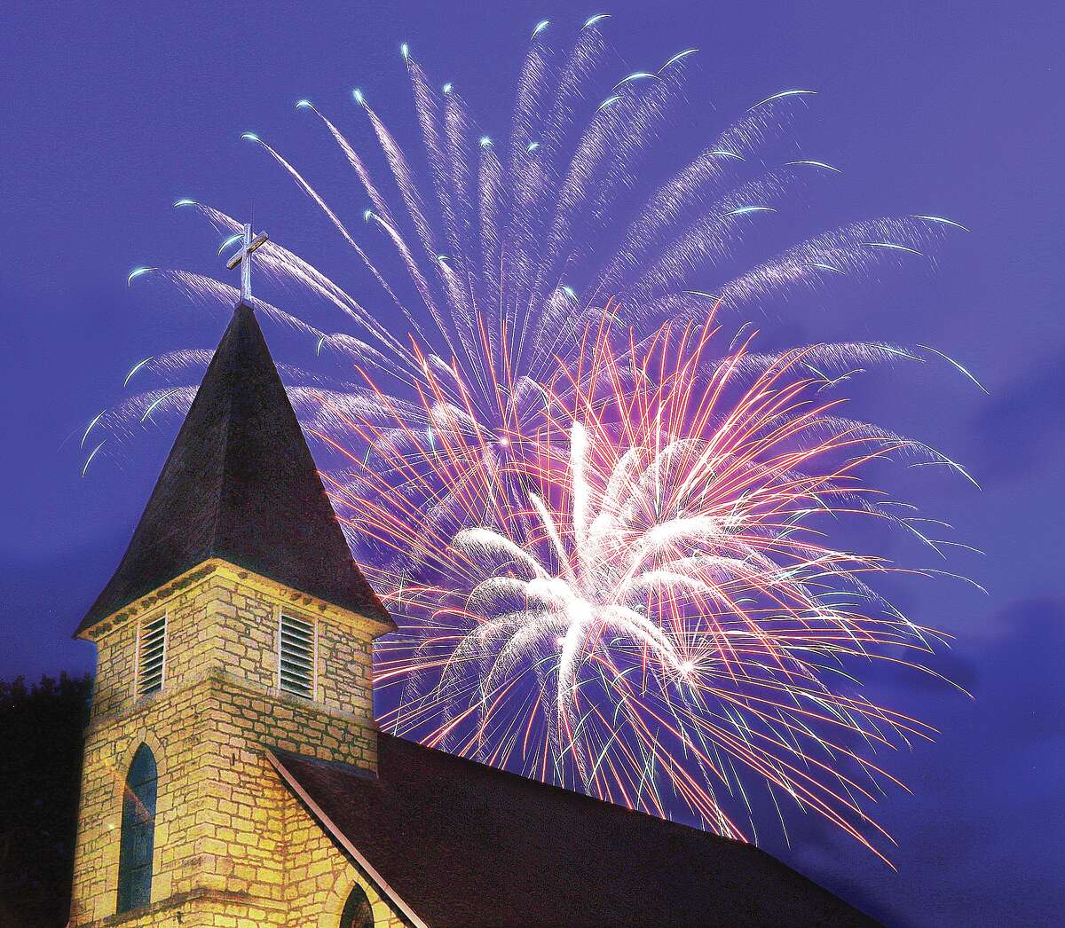 Fireworks explode on the Mississippi River in Grafton. Free fireworks shows are planned simultaneously in Grafton and Alton on Thursday nights this summer as part of efforts by the Great Rivers & Routes Tourism Bureau of Southwest Illinois to bolster local businesses.
