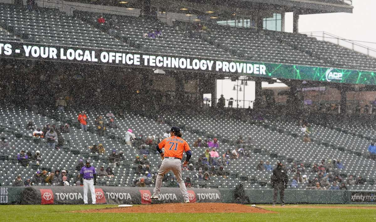 The Giants' Monday night game against the Rockies has been postponed by bad weather in Denver and will be made up as part of a Tuesday doubleheader.