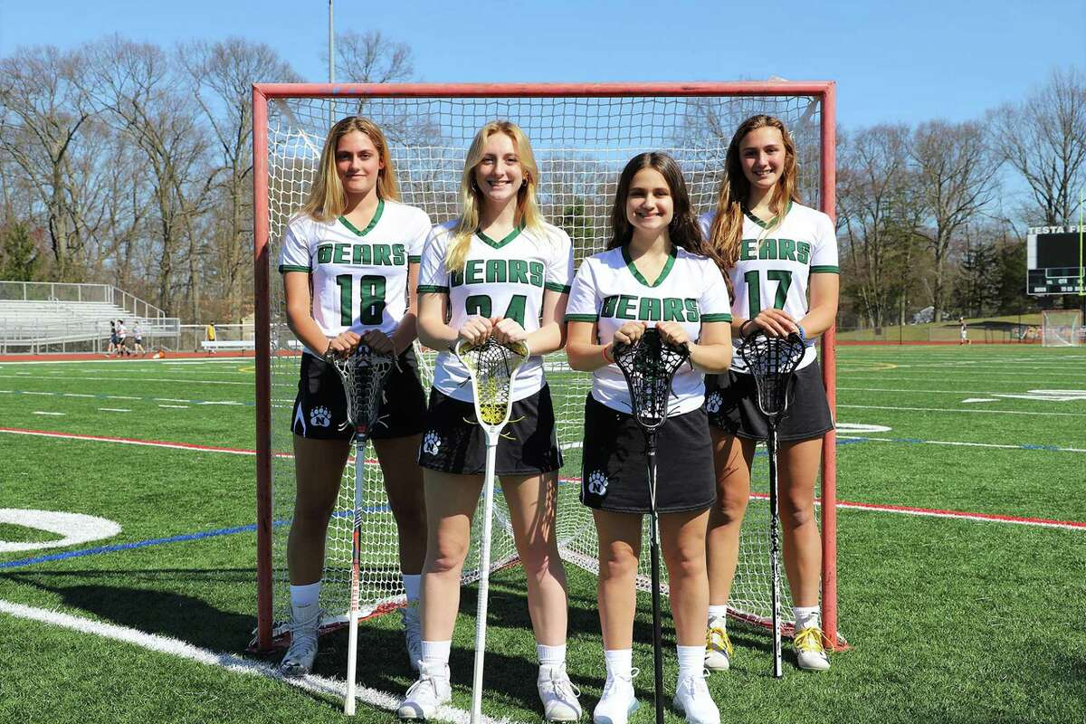 2021 Norwalk girls lacrosse seniors, from left, Nicole DiLauro, Claire McKinnon, Kaylie Karidis and Brinn Renwick.