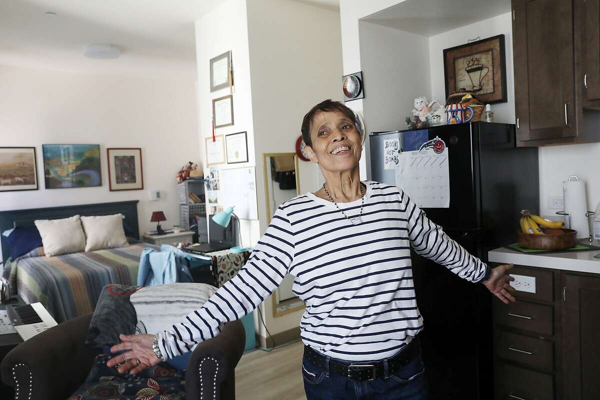 Margie Talavera says she is grateful everyday and starts her day with a thought of gratitude in her apartment at the Edwin Lee Apartments on Monday, May 3, 2021 in San Francisco, Calif.