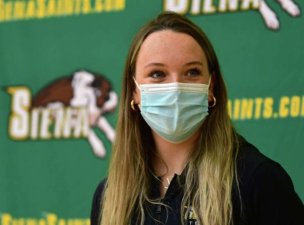 Siena women's tennis player Kylie Mullaney speaks to the media after hearing her team will be playing Florida in the NCAA Tournament on Monday, May 3, 2021 in Loudonville, N.Y. The team won the MAAC title last week, (Lori Van Buren/Times Union)