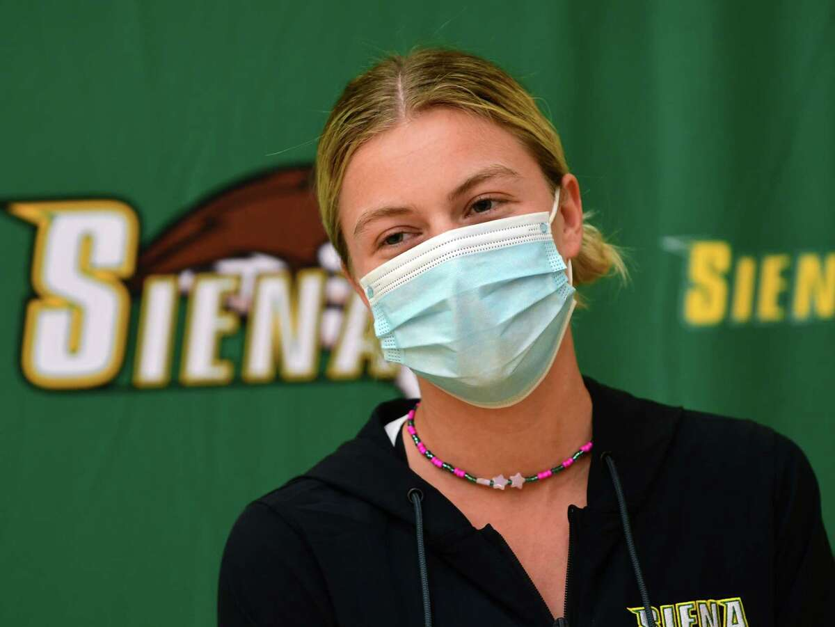 Siena women's tennis player Meagan Brown speaks to the media after hearing her team will be playing Florida in the NCAA Tournament on Monday, May 3, 2021 in Loudonville, N.Y. The team won the MAAC title last week, (Lori Van Buren/Times Union)