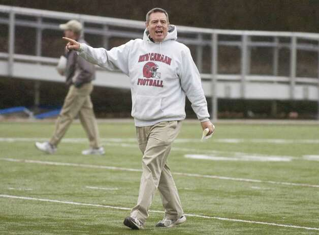 Head coach Lou Marinelli during football practice at New Canaan High School in New Canaan, Conn. on Thursday, Dec. 3, 2009. The Rams will play for a repeat of the state title on Saturday. Photo: Chris Preovolos, ST