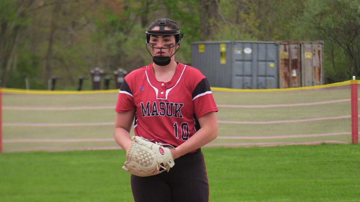 Masuk's Kathryn Gallant pitches against Notre Dame of Fairfield during a softball game on Monday, May 3, 2021 in Fairfield, Conn.