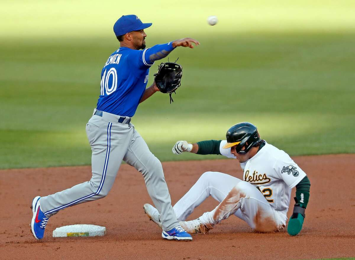 Toronto Blue Jays' Marcus Semien relays to first base after forcing out Oakland Athletics' Ramon Laureano at second base on Sean Murphy's inning-ending double play in 1st inning during MLB game at Oakland Coliseum in Oakland, Calif., on Monday, May 3, 2021.