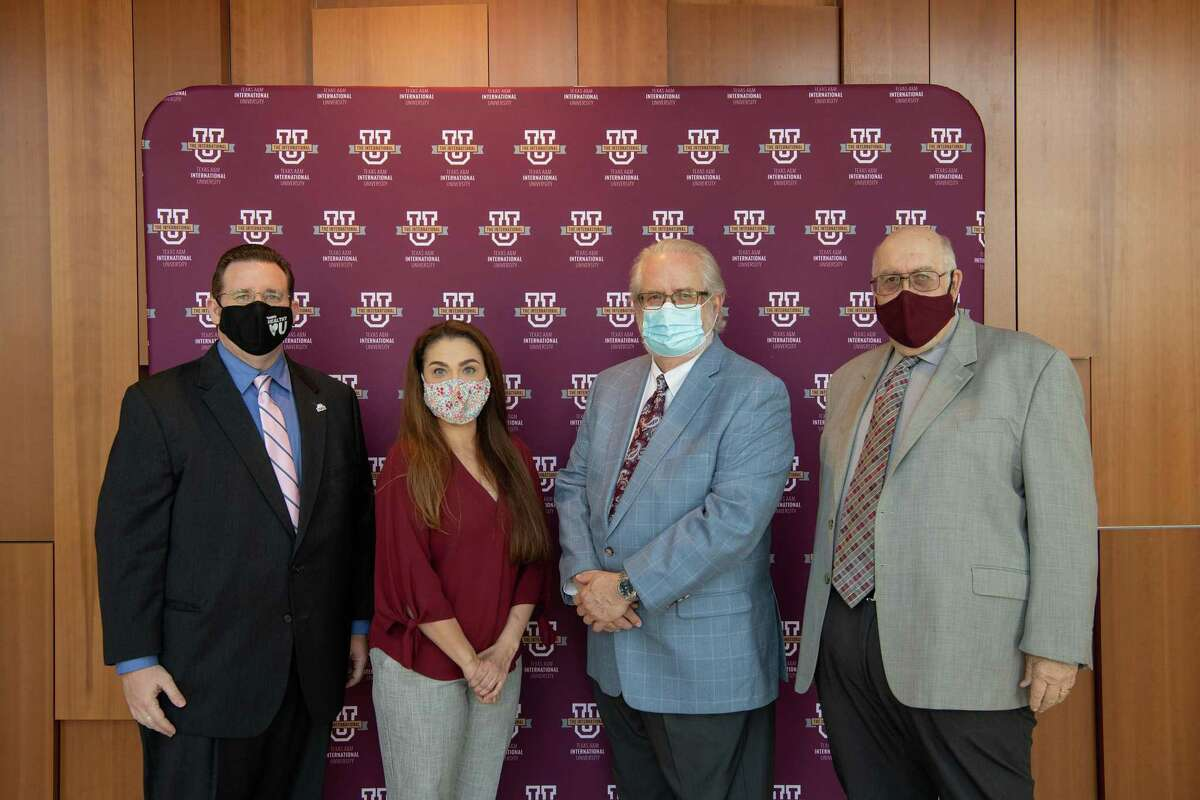 Dr. Sean A. Maddan, Dr. Claudia San Miguel, Dr. Tom Mitchell and Dr. Pablo Arenaz proudly gathered to announce the new criminal justice doctorate program will start Fall 2021.