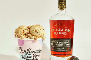 The new ice cream flavor, Yellow Rose Bourbon Pecan Pie from Van Leeuwen, in collaboration with Yellow Rose Distilling.
