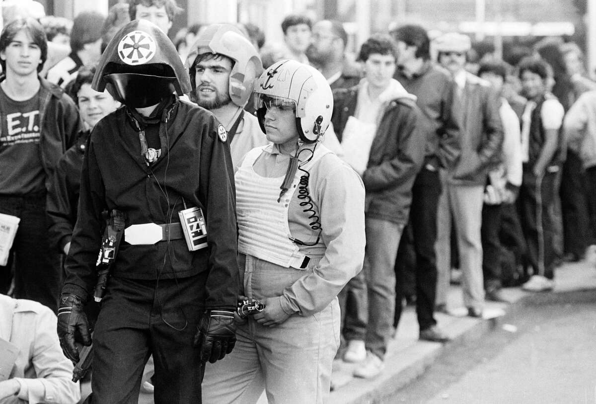 """In this May 25, 1983 file photo, fans await a showing of """"Star Wars: Return of the Jedi."""""""