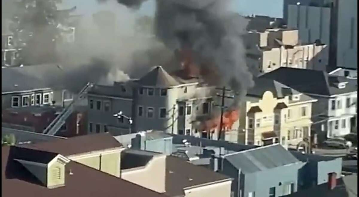 A fire at a residential apartment building under construction in Oakland at Second Avenue and International Boulevard.