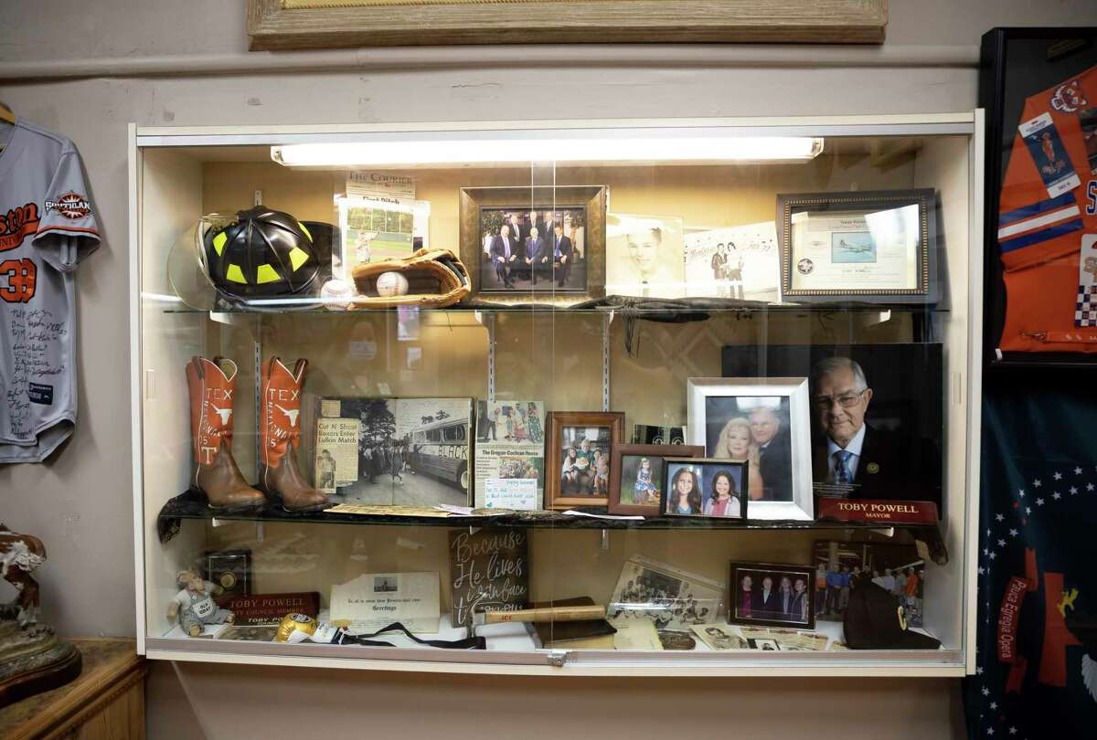 An exhibit in honor of the late Conroe Mayor, Toby Powell, was added to the Heritage Museum of Montgomery County in Conroe, Saturday, Nov. 14, 2020. Pieces throughout Powell's life were added to the exhibit.