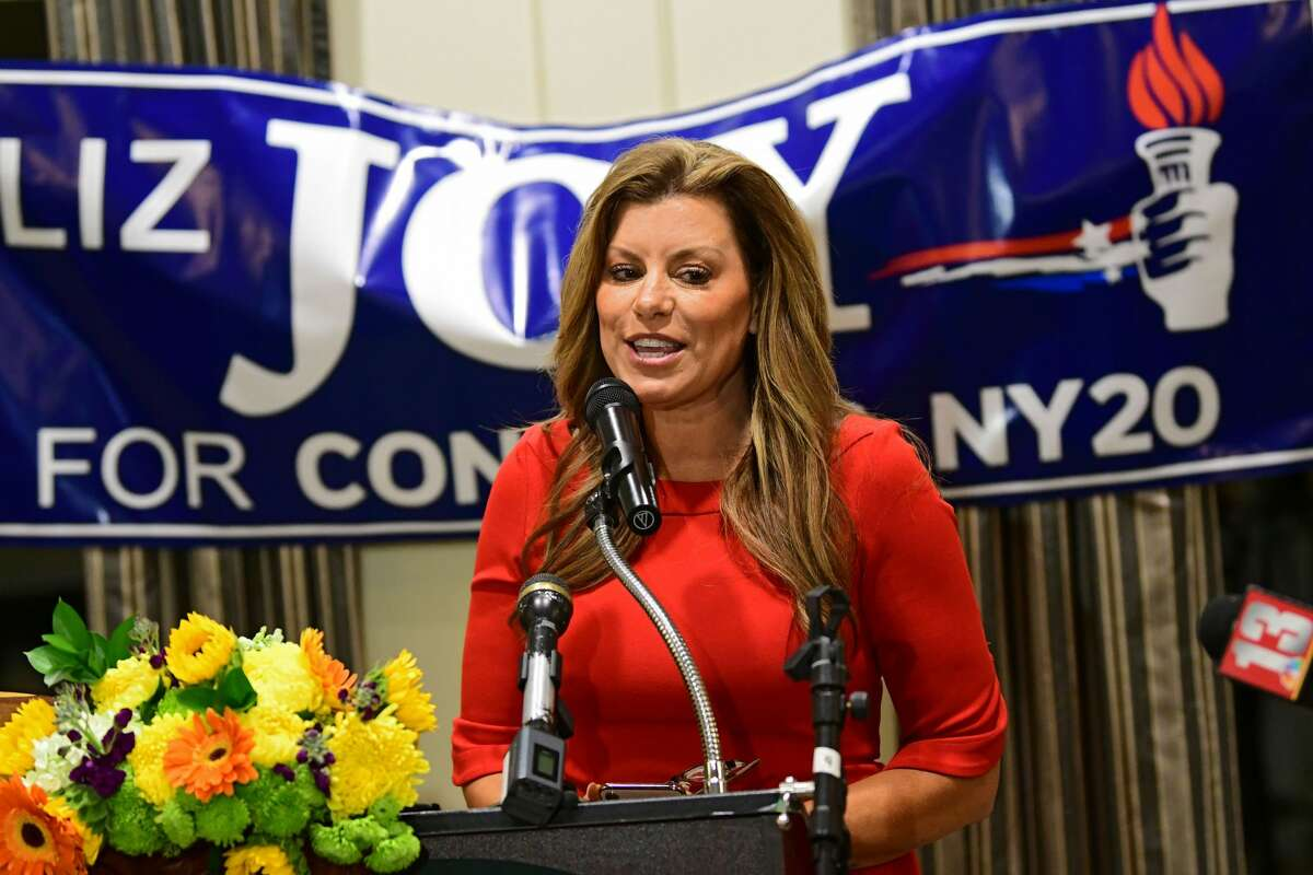 Republican Liz Joy speaks to her supporters at the podium during a Liz Joy for Congress Watch Party on election day at the River Stone Manor on Tuesday, Nov. 3, 2020 in Schenectady, N.Y. Joy mount a second challenge to Rep. Paul Tonko, D-Amsterdam, in 2022. (Lori Van Buren/Times Union)