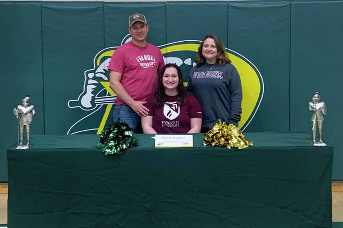 Metro-East Lutheran senior Tess Rosentreter, seated center, will join the cheerleading program at Evangel University next fall. She is joined in the picture by her family.
