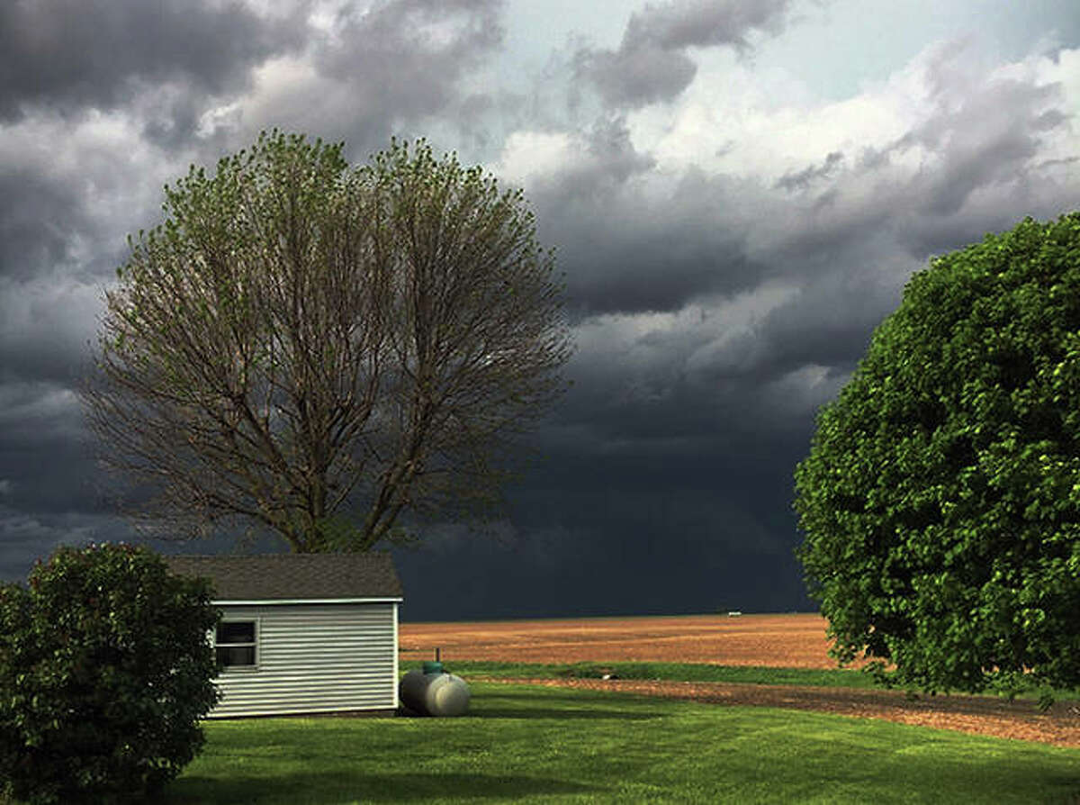 Reader Kacy Fromme of rural Alexander took this photo of the sky toward Pleasant Plains about 5:25 p.m. Monday as a volatile storm system swept across the region. One of four tornado touchdowns from the storm was confirmed in Pleasant Plains, with others in Arenzville, Mechanicsburg and Dawson.