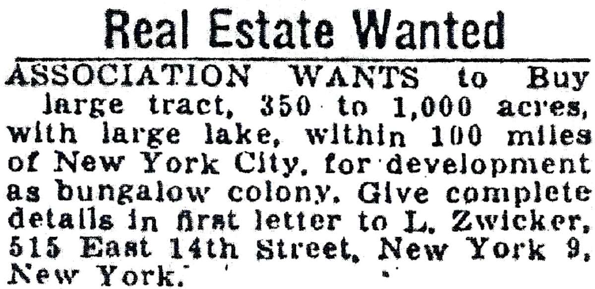 An advertisement placed on the Danbury News-Times on Nov. 7, 1950, seeks out land for a summer getaway.
