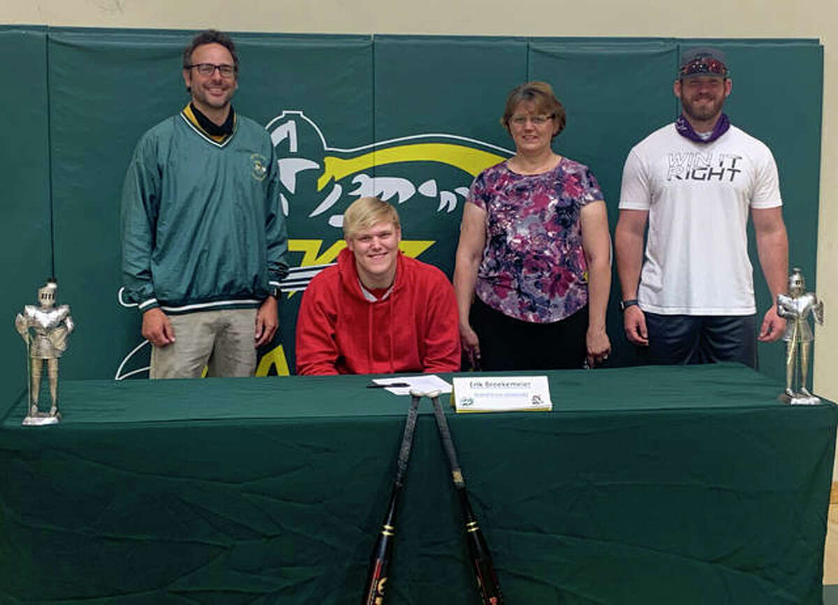 Metro-East Lutheran senior Erik Broekemier, seated, will play college baseball for Grand View University in Des Moines, Iowa.