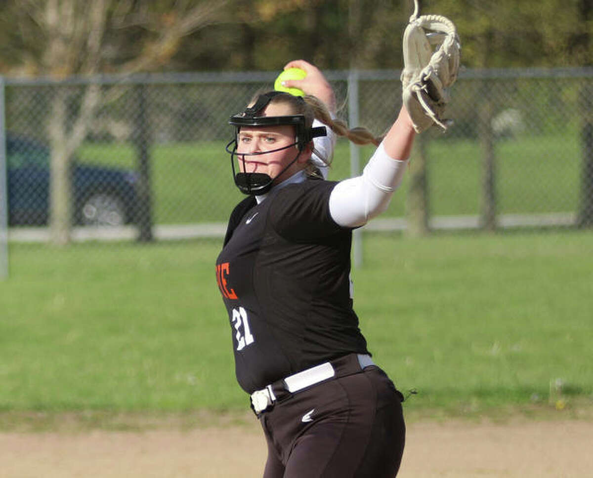 Gillespie's Sydney Bires, shown pitching in a game earlier this season, threw a two-hitter Monday to lead the Miners' to a SCC win over Hillsboro in Hillsboro.