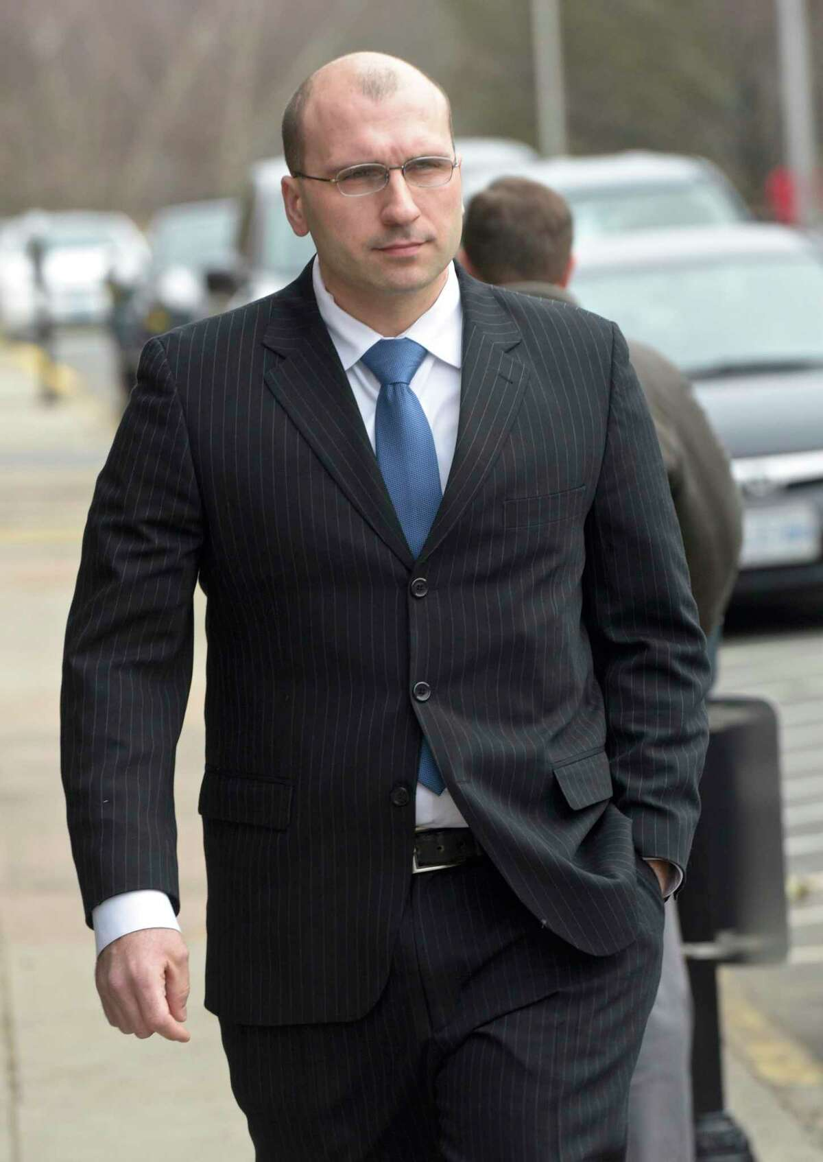 Connecticut State Trooper Sgt. John McDonald leaves Superior Court in Middletown on Monday morning, January 27, 2020, in Middletown, Conn.
