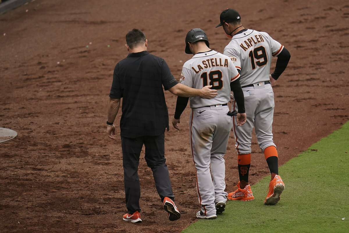 San Francisco Giants' Tommy La Stella of a baseball game against the San Diego Padres Sunday, May 2, 2021, in San Diego. (AP Photo/Gregory Bull)