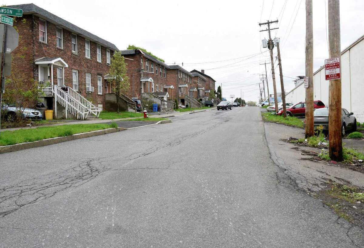 Scene on Essex Street where 18-year-old Chyna Forney from Albany was shot and killed Monday afternoon Tuesday, May 4, 2021 in Albany, N.Y. (Lori Van Buren/Times Union)