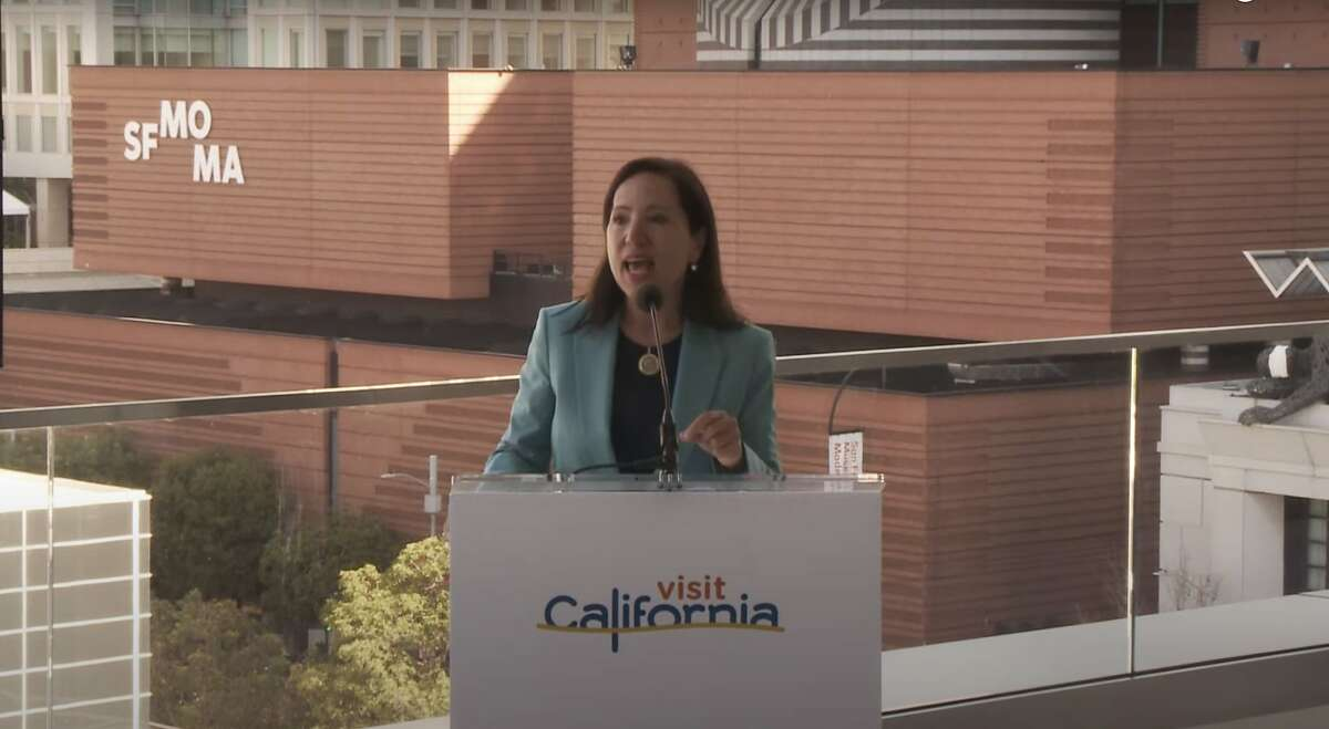 Lt. Gov. Eleni Kounalakis at Moscone Center on Tuesday urged Californians to plan in-state vacations this summer.