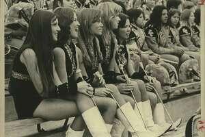 Left to right: Maggie Tudhope, Nancy Terrill, Liz Neubauer, Jackie Speir, Daisy Robertson, East Central High School.  Fiesta Flambeau