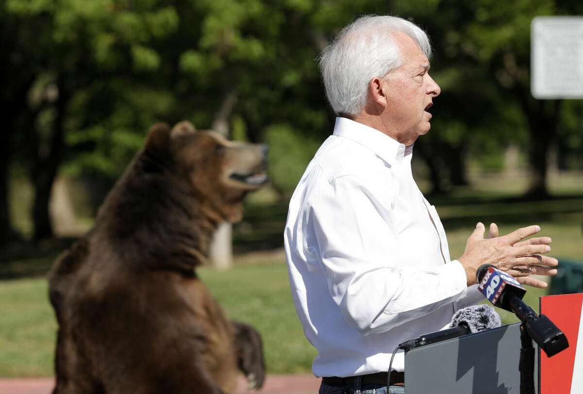 A 1,000-pound bear sits behind California republican gubernatorial candidate John Cox as he speaks during a campaign rally at Miller Regional Park on May 4, 2021, in Sacramento.