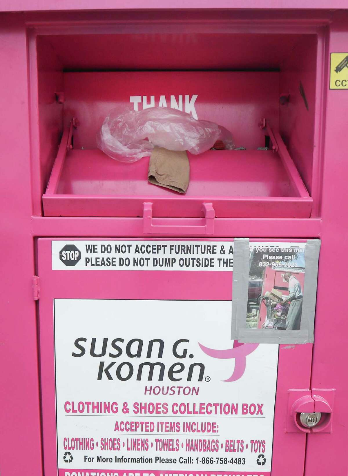 A Susan G. Komen for the Cure donation bin at Wilmington St., and Cullen Blvd Tuesday, May 4, 2021, in Houston. The City may start regulating the donation bins.