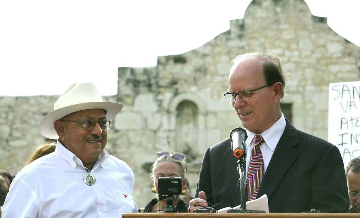 Bexar County Nelson Wolff, shown speaking at the Alamo in 2015 in celebration of the inscription of the San Antonio missions as a UNESCO World Heritage Site, said the county should get more involved in a supporting role in the Alamo project, particularly the planned Alamo museum.