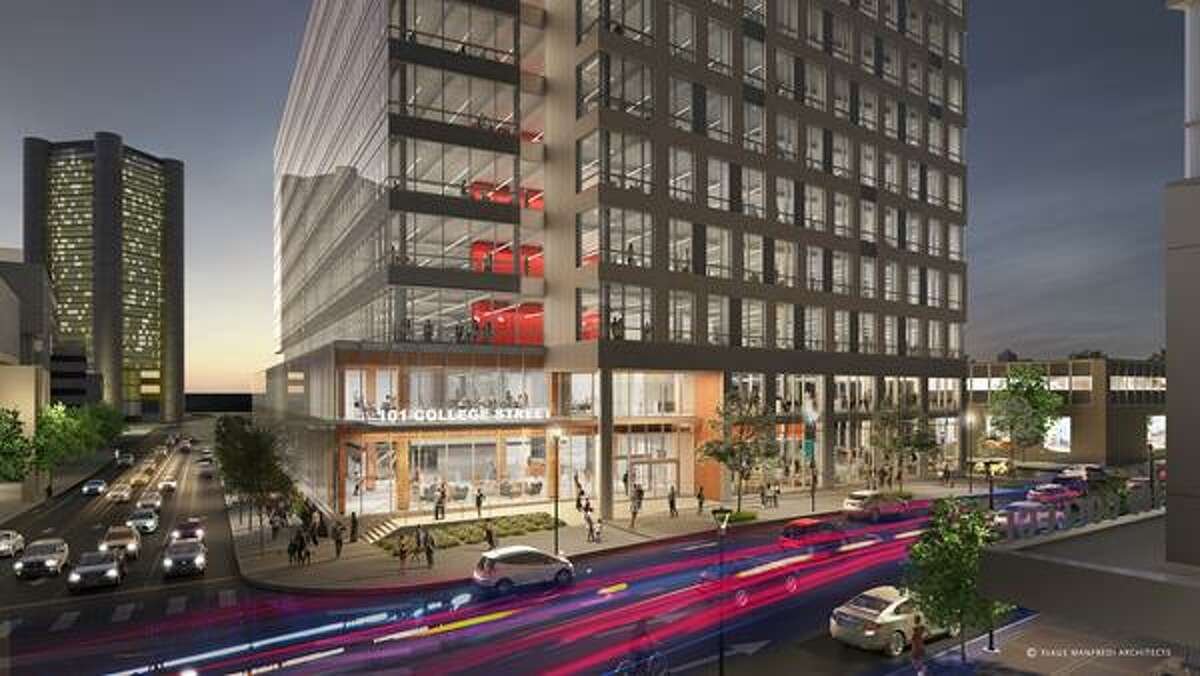 An artist's rendition of what the street view of the 10-story biotech complex at 101 College Street will look. Construction of the building is expected to begin by the end of June.