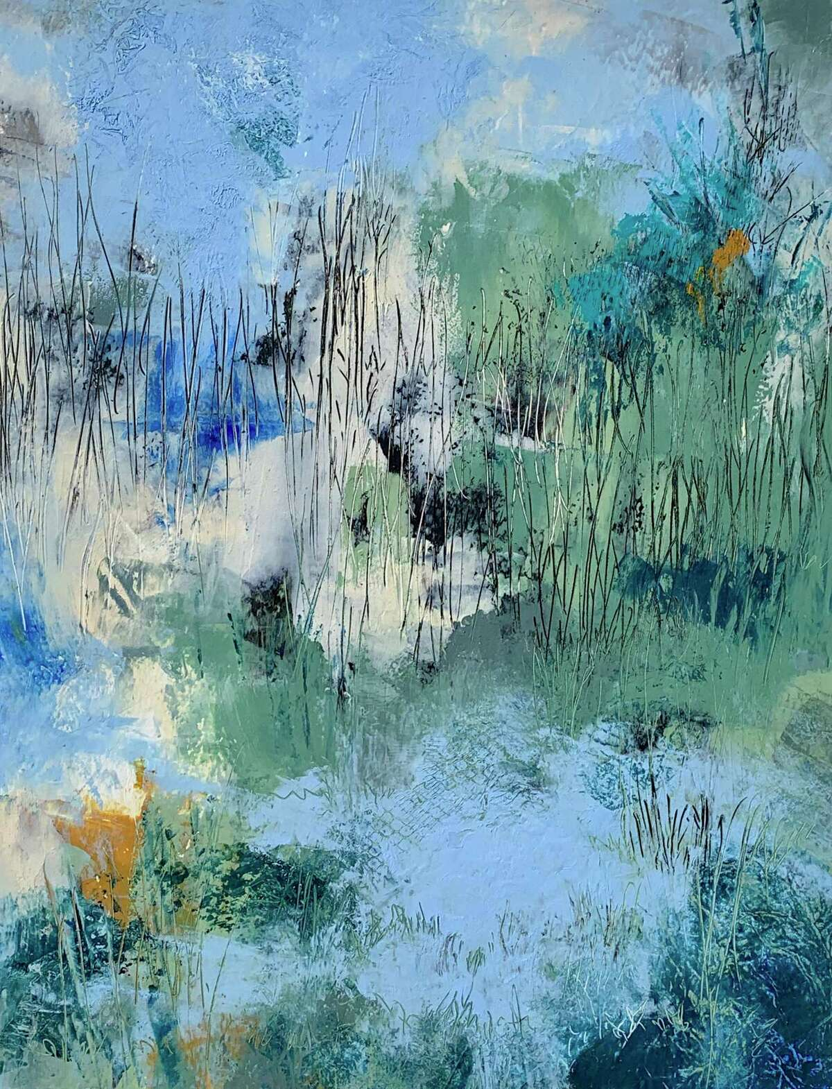 At Spectrum Art Gallery and Artisans Store's newest exhibit, Abstracting Nature, experience both impressionistic and abstract work in this seven-week show which kicks off Friday, May 14. Above, Once Upon a Marsh, mixed media, oil+cold wax, Kathleen DeMeo.
