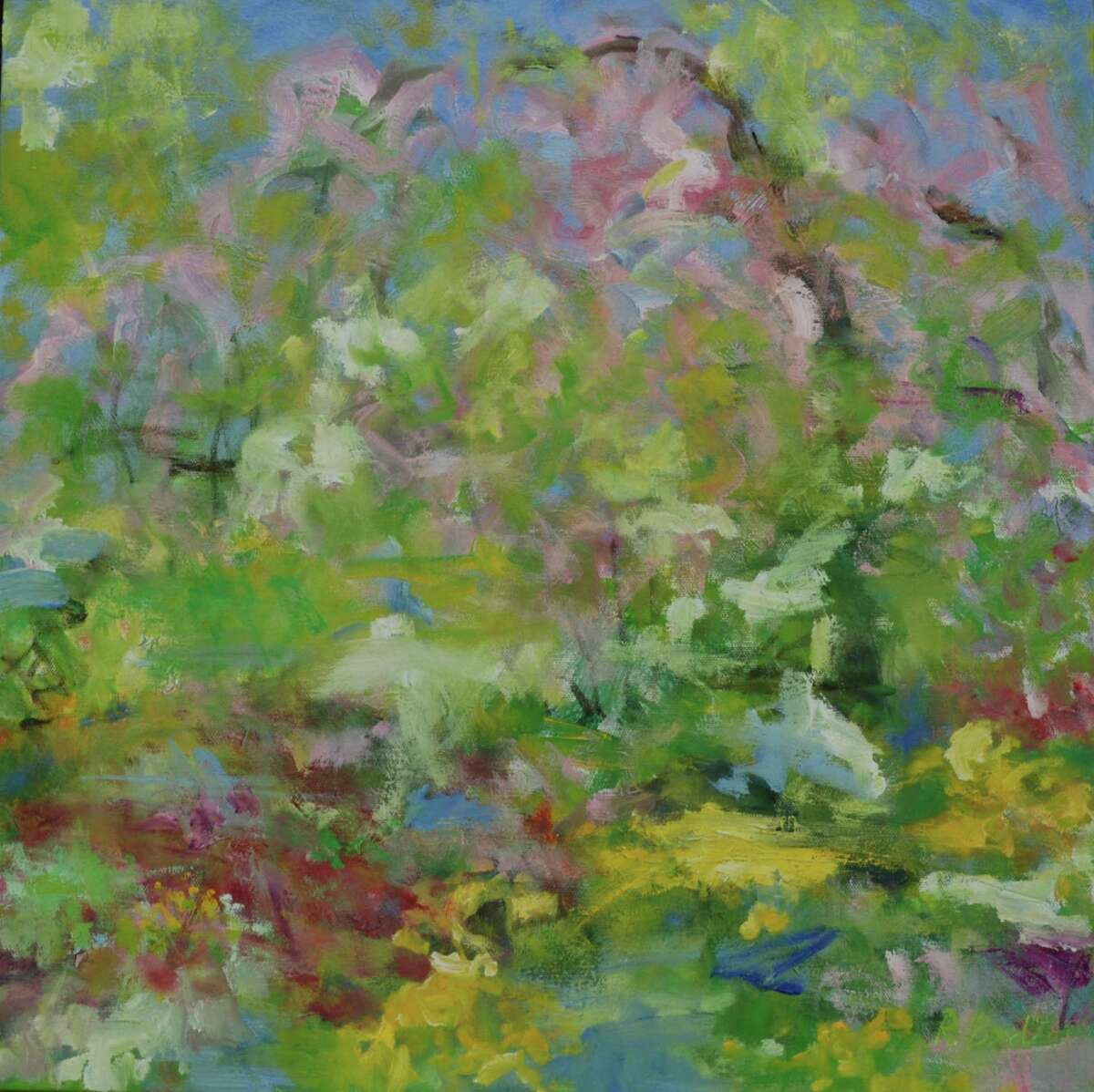 At Spectrum Art Gallery and Artisans Store's newest exhibit, Abstracting Nature, experience both impressionistic and abstract work in this seven-week show which kicks off Friday, May 14. Above, Cherry Blossoms in the Garden, oil on canvas, Rita Bond.