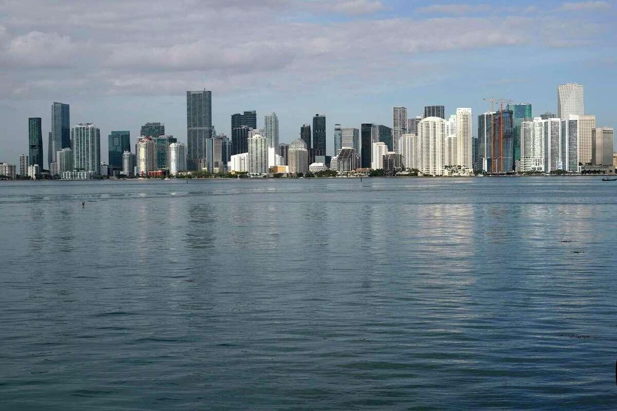 The skyline of downtown Miami .