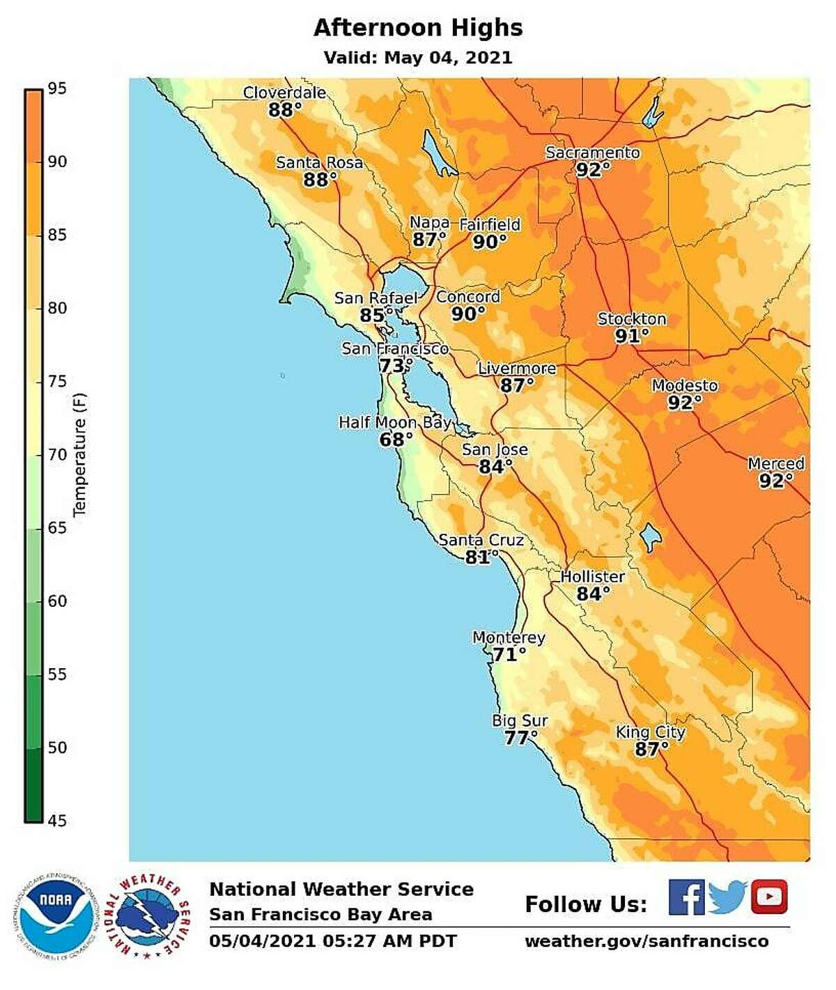 National Weather Service forecast for Tuesday calls for more warm weather.