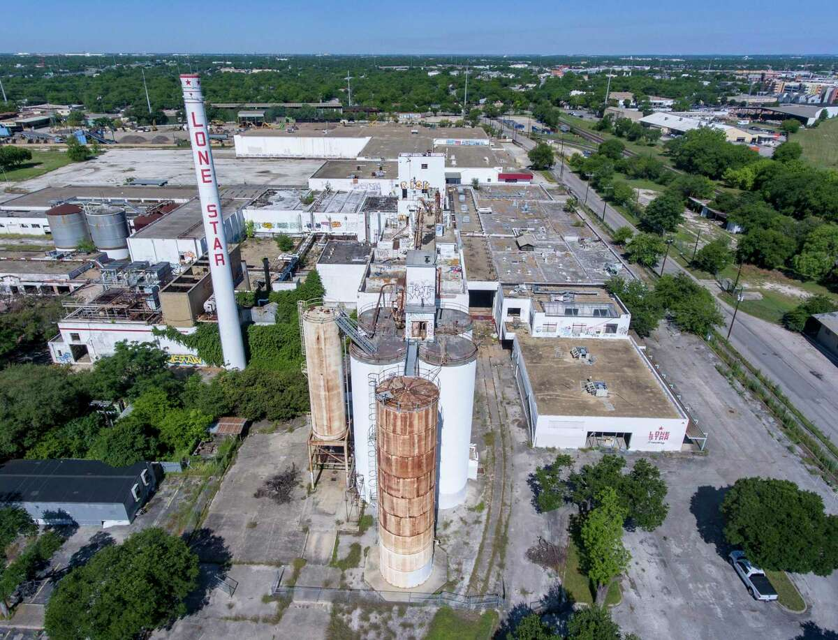 The former Lone Star Brewery site, seen in an April 2020 aerial photo.