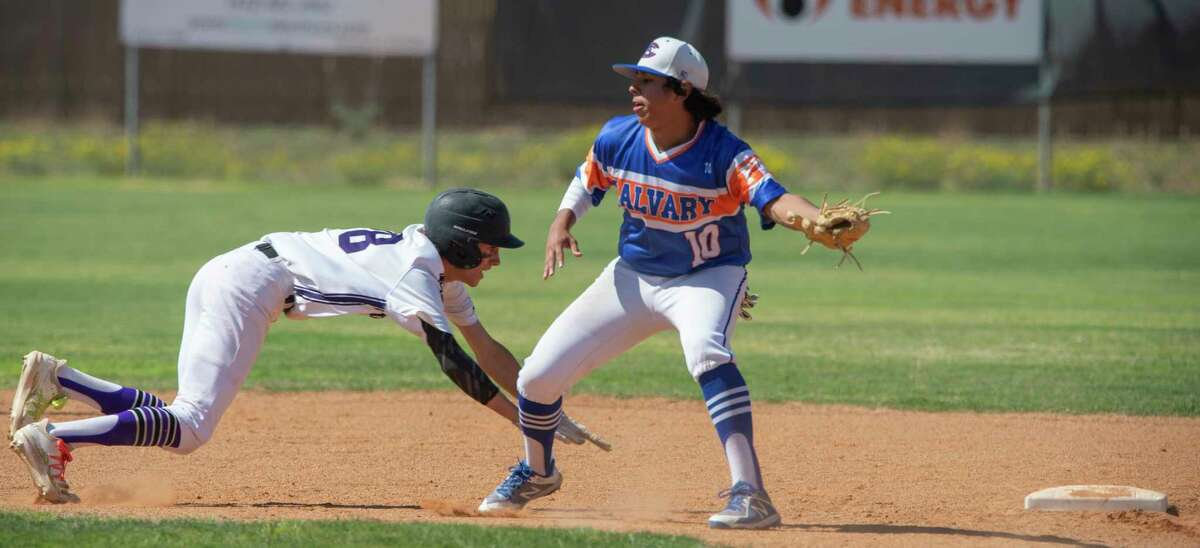 Midland Classical Academy's KameronArmsteaddives back to second to beat the pickoff throw as FW Calvary's Brandon Alvarado reaches for the ball 05/04/2021 at Bosworth Ballpark. Tim Fischer/Reporter-Telegram