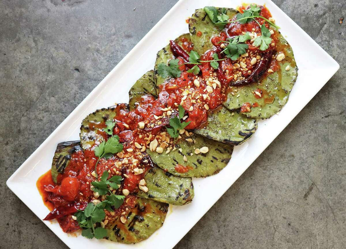 The only tricky part about making Grilled Nopales is trimming off the cactus' spines.