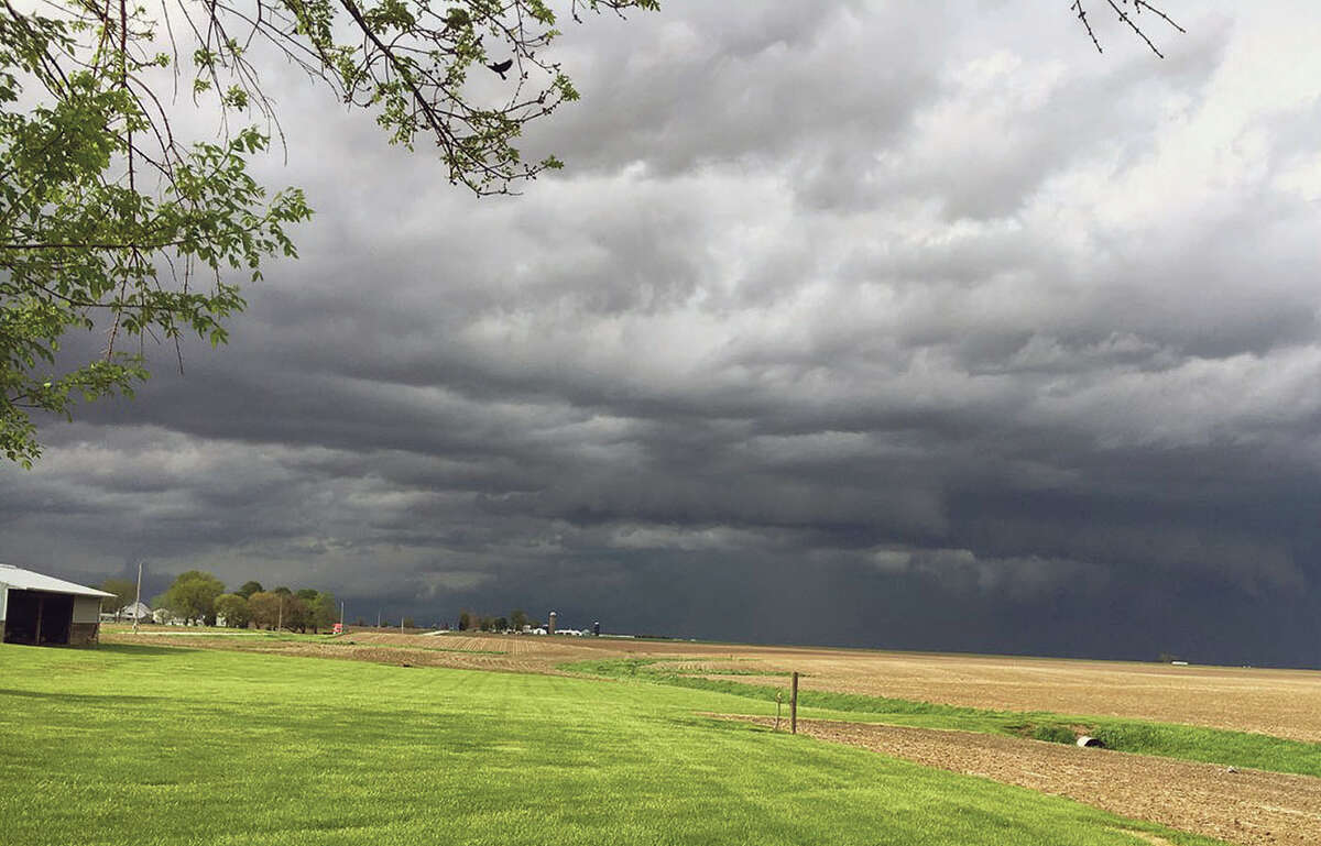A storm system that spawned four tornado touchdowns Monday moves through the Alexander area toward Pleasant Plains.