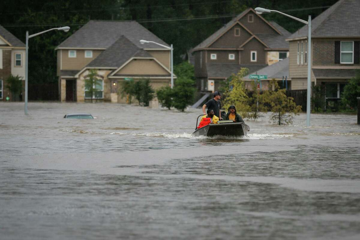 During Hurricane Harvey in 2018, volunteers from Tyler use their civilian watercraft to rescue residents of the Montgomery Creek Ranch subdivision.