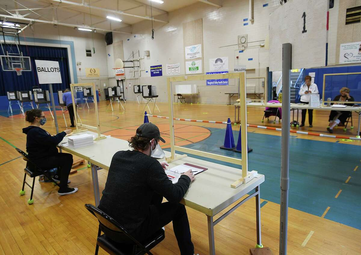 Voting turnout on the town budget referendum was light as of the early afternoon at the Seymour Community Center gymnasium in Seymour, Conn. on Tuesday, May 4, 2021.