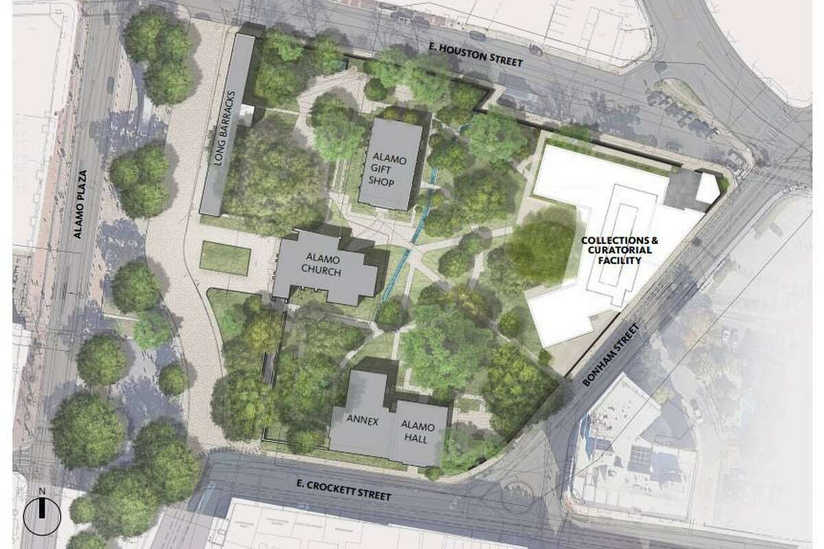 The nonprofit Alamo Trust plans to break ground next week on a 24,000-square-foot Alamo Exhibit Hall & Collections Building, set for completion in fall 2022, on the state-owned Alamo grounds.