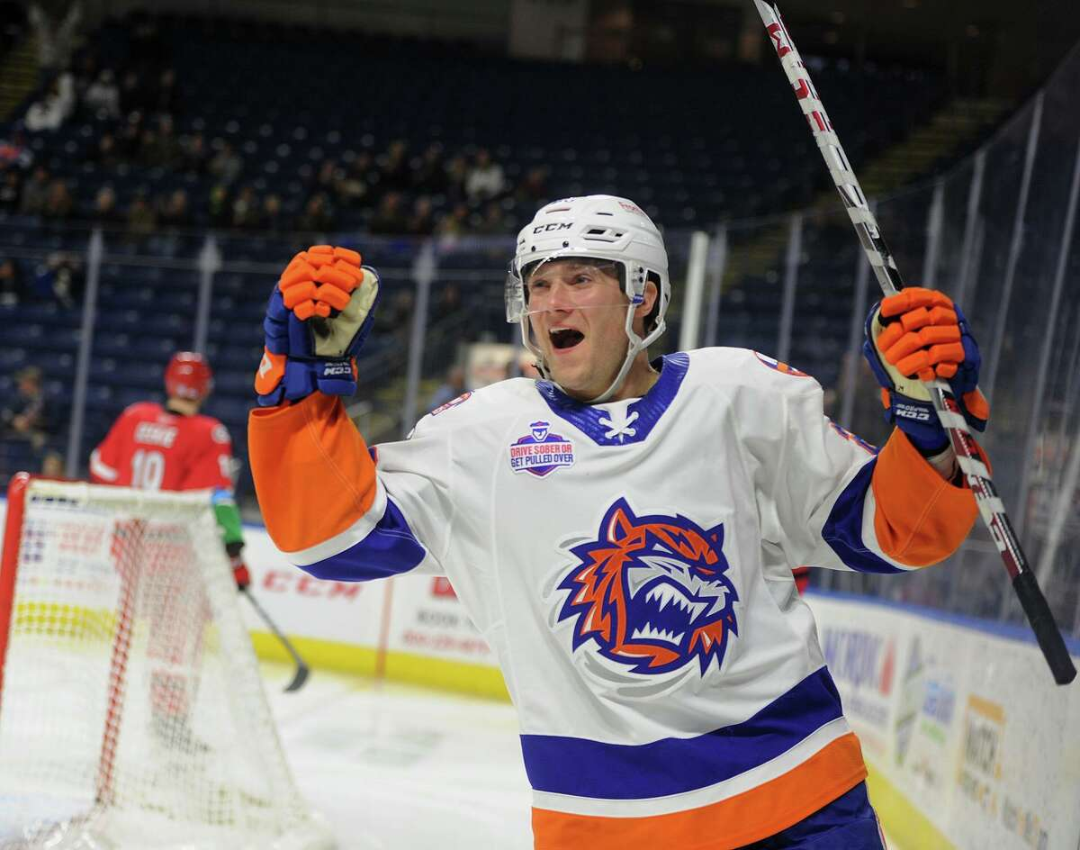 Bridgeport Sound Tiger Connor Jones celebrates his third period goal giving his team a 3-2 lead in their AHL hockey game at the Webster Bank Arena in Bridgeport, Conn. on Sunday, November 11, 2018.