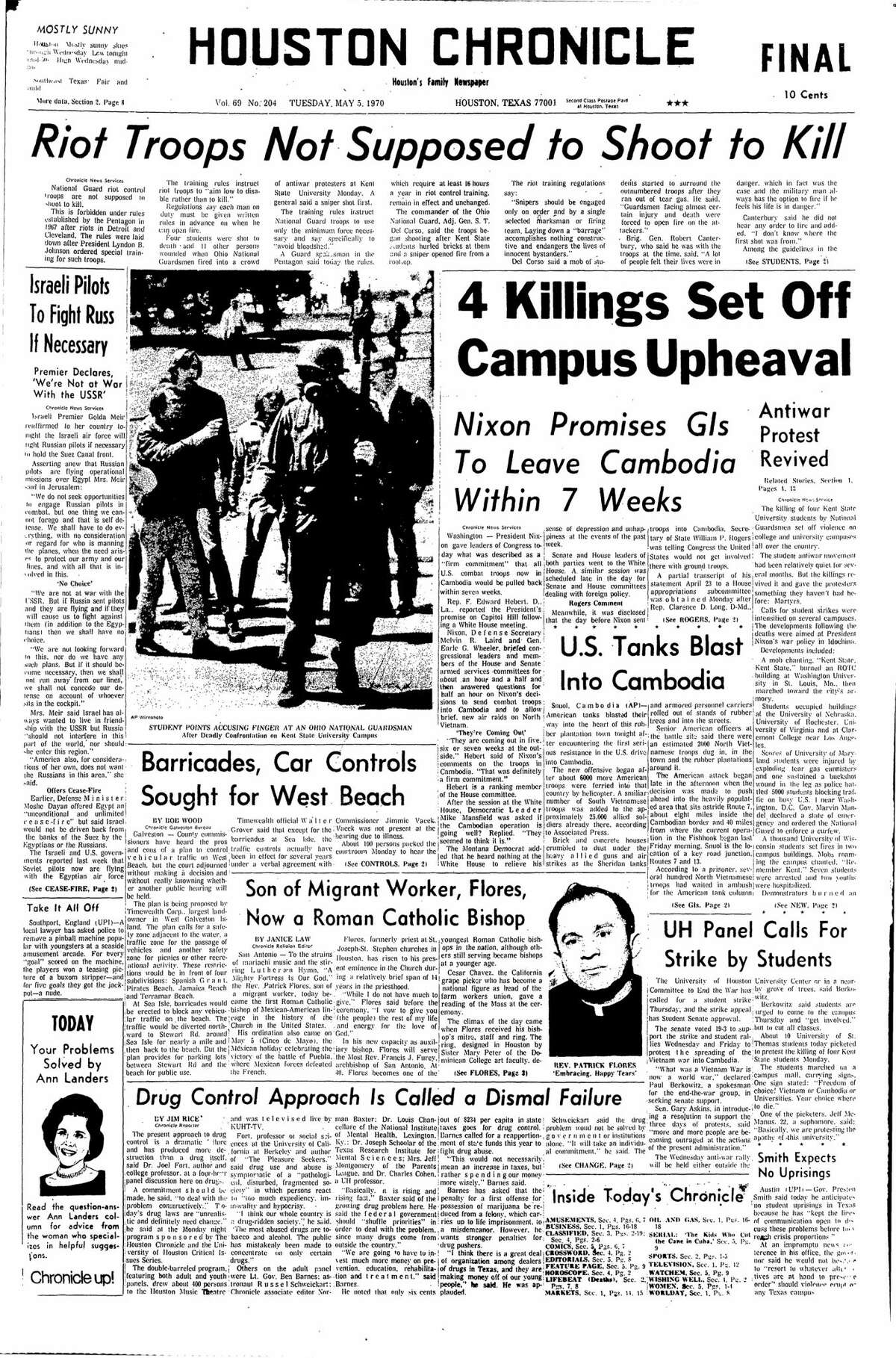 Houston Chronicle front page from May 5, 1970.