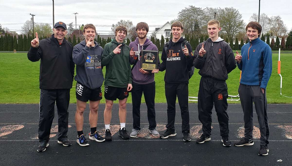 The Ubly boys track team finished in first place at the Greater Thumb Conference East meet on Tuesday.