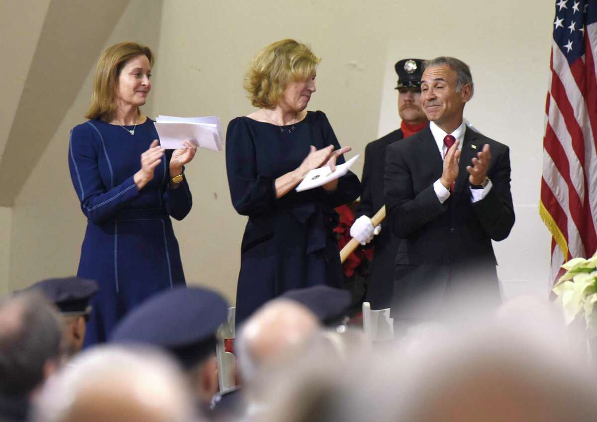 Photos from the Board of Selectmen swearing-in ceremony at the Boys & Girls Club of Greenwich in Greenwich, Conn. Sunday, Dec. 1, 2019. Republican Fred Camillo was sworn in as first selectman, while fellow Republican Lauren Rabin and Democrat Jill Oberlander were sworn in as selectwomen. Oberlander later opted to use the title selectperson.