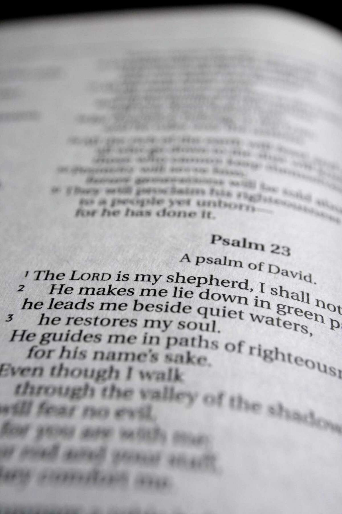 Opening words to the 23rd Psalm.